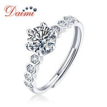 Daimi moisanite anel de diamante d cor 0.5 quilates six claw clássico 925 anéis de prata esterlina para mulher