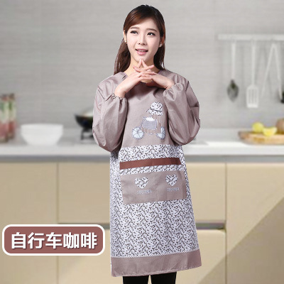 Korean-style Adult Protective Clothing Overclothes Kitchen Long Sleeve Apron Adult Bib Antifouling Oil Resistant Work Clothes