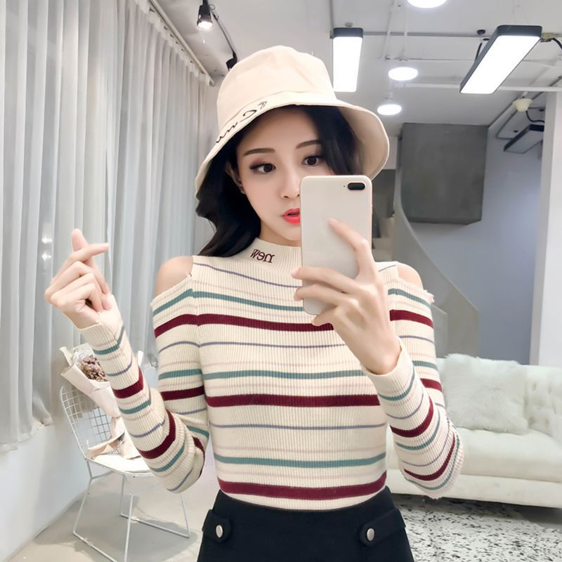 Autumn Women Striped Sweater High Elastic Sweet Slim Sweater Long Sleeve Round Collar Slim Bottom Knitted Sweater