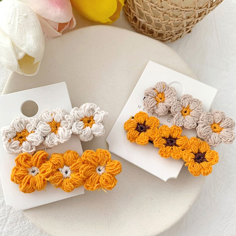 Fresh Women Sweet Girls Hair Clip Handmade Crochet Knitted Flowers Alligator Hairpins Autumn Fall Side Bangs Barrettes