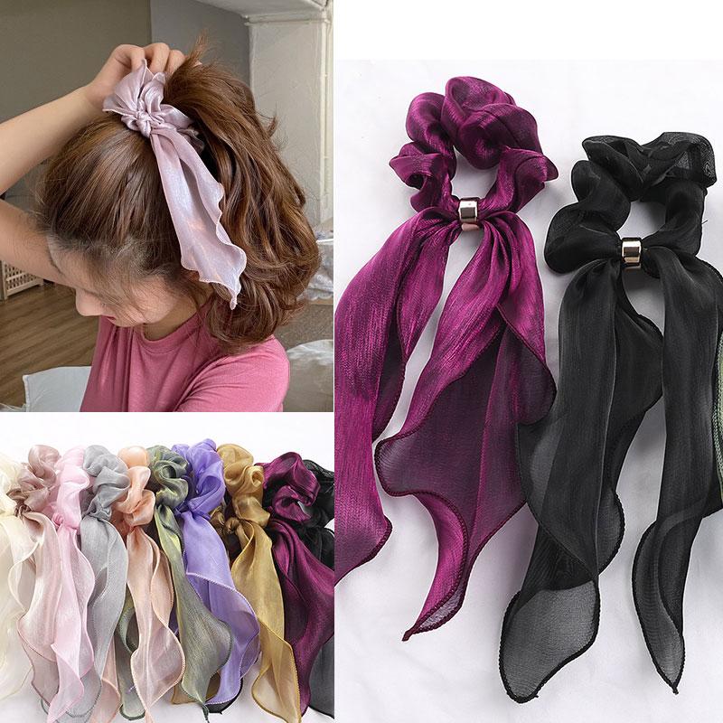 Женские Однотонные резинки, ткань в горошек, эластичная лента для волос, Бабочка, веревка для волос для девушек, заколки для волос, корейские аксессуары для волос, головной убор Женские аксессуары для волос      АлиЭкспресс