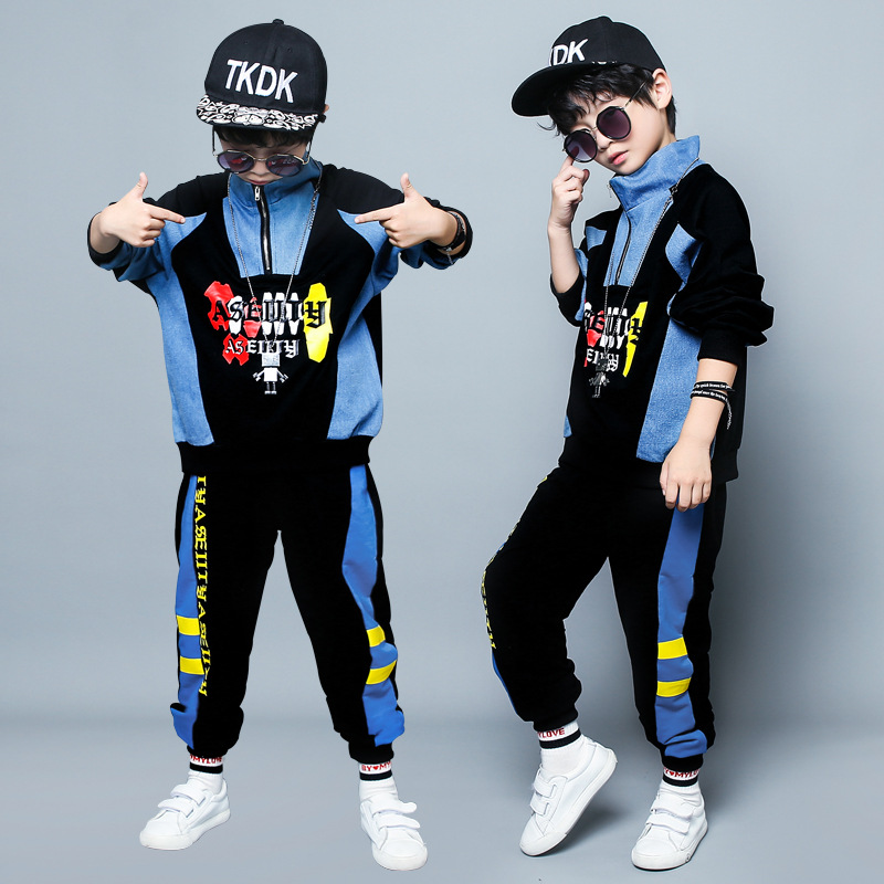 Spring Autumn Loose Kids Boys Street Wear 2 Piece Sets Denim Patchwork Pullover+Sweatpants Fashion Children Tracksuit 4-16T