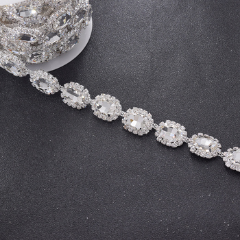 5yards top shiny 2cm crystal glass strass rhinestone trimming appliques for wedding dress belt applique sewing clothings patch