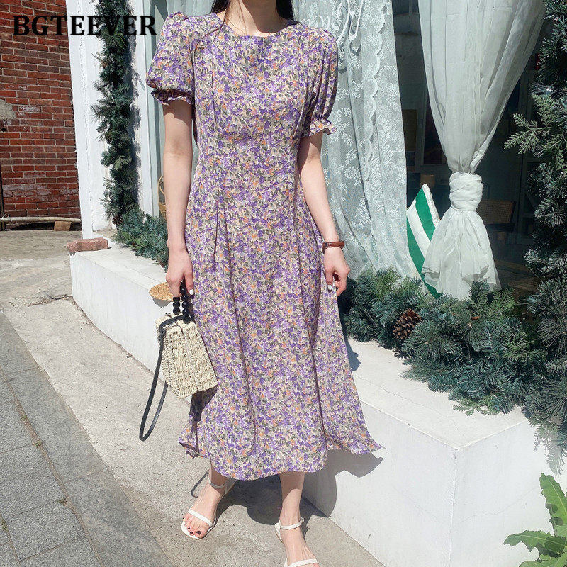 BGTEEVER Summer O-neck Floral Print Dress Ladies Straight Dress Women Elegant Short Sleeve Lace Up Female Vestidos Femme 2020