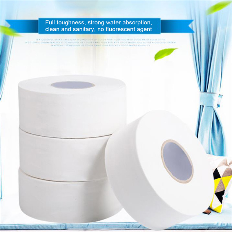 1 Roll Toilet Paper 4-Ply White Jumbo Toilet Paper High Capacity Toilet Tissue Soft Native Wood Pulp Hotel Home Rolling Paper
