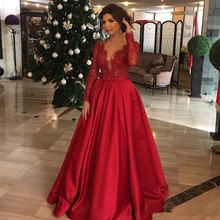 2020 Red Evening Dresses Plunging Long Sleeves Lace And Satin deep v-neck A-Line Prom Gowns Back Zipper Custom Vestido De Noiva plunging neck lace splicing dress