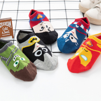 5 Pairs/lot Baby Boy Socks Cartoon Hero Pattern Breathable Summer Thin Kid Pure Cotton 1-9 Years Clothes Accessories - discount item  30% OFF Children's Clothing