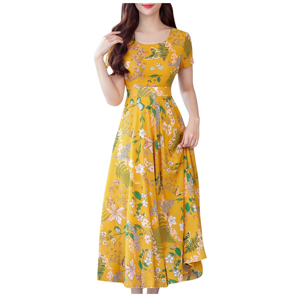 Women Fashion Plus Size Summer Mid-Calf Short Sleeve Beach Printing Dress slip dress woman dress 2020 spring summer robe#WBY