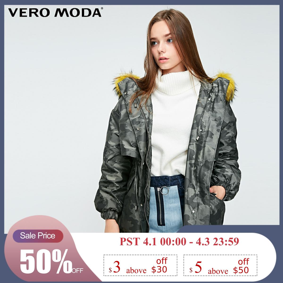 Vero Moda New 90% White Duck Down Raccoon Fur Hooded Camouflage Down Parka Coat | 318412535