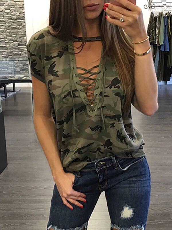 Summer Women Short Sleeve Camouflage Loose Casual Ladies T Shirt Tops Summer Bandage Hollow Out T-Shirt Tops Gray Army Green