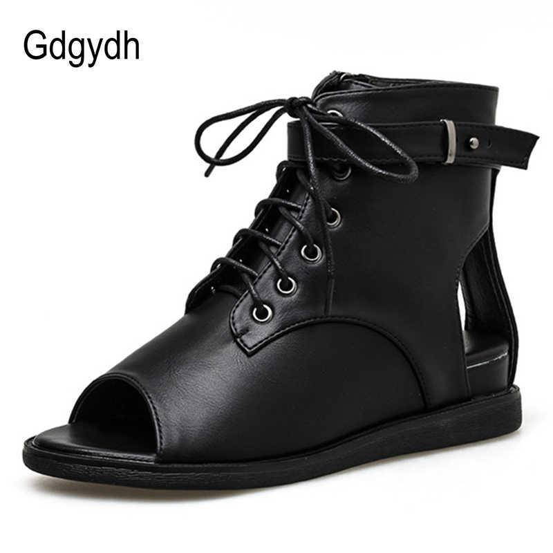 Gdgydh Offene spitze Frauen Stiefel Leder PU Schwarz Herbst Sommer Schuhe Lace Up Damen Casual Schuhe Keil Komfortable Großhandel