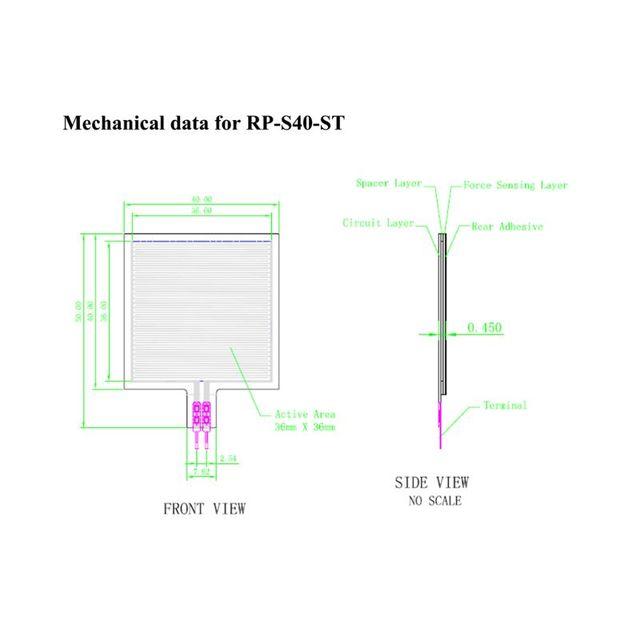 2020 nouveau capteur de pression à couche mince capteur de Force de RP-S40-ST siège haut de gamme intelligent 20g-10kg