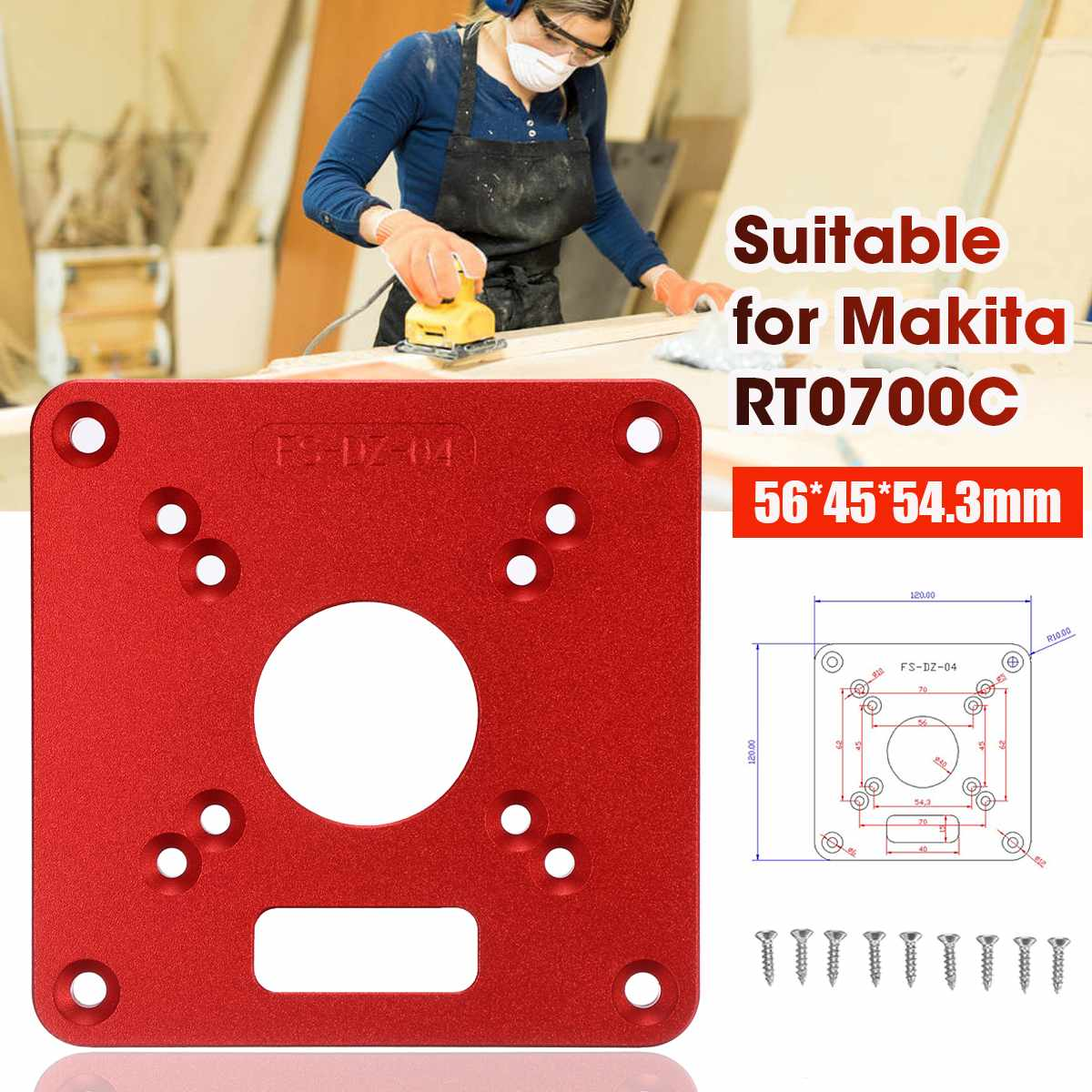 120x120mm Aluminum Alloy Router Plate For MAKITA RT0700C Router Trimmer Woodworking Tool