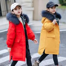 -30 Degrees Winter Duck Down Jacket For Girls Hooded Fur Collar Long Warm Winter Coat Girls 5-14 Years Teenage Snowsuit стоимость