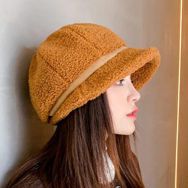New thickened multicolor lamb wool hat children's Korean fashion wind proof lamb wool hat