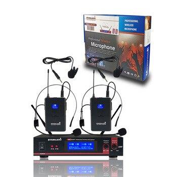 STARAUDIO Professional Dual Channel UHF Wireless Microphone System 2CH UHF Headset Lapel Church Audio Stage Party Mic SMU-0202B