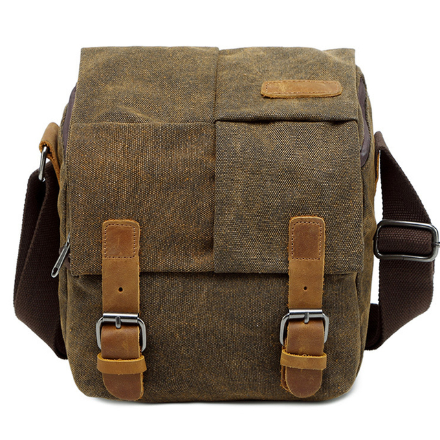 Photo Video Camera Waterproof Canvas Shoulder Retro Vintage DSLR Bag Carrying Case for Canon Nikon Sony SLR Photography