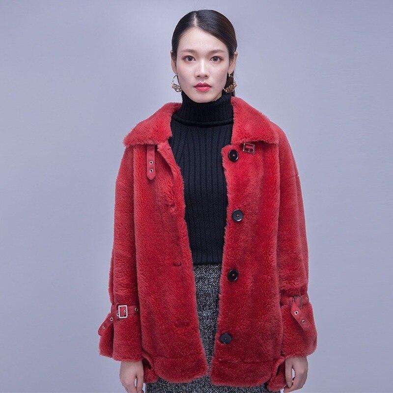 100% Sheep Shearing Jacket Women Autumn Winter Real Fur Coat Women Clothes 2020 Korean Wool Jackets And Coats 89068 YY1769