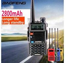 2020 Baofeng UV 5r Walk Talk 2800MAH baufeng 5 W เครื่องส่งรับวิทยุ 10 km VHF UHF สถานีวิทยุโทรศัพท์มือถือแบบ dual band HAM วิทยุ woki Toki