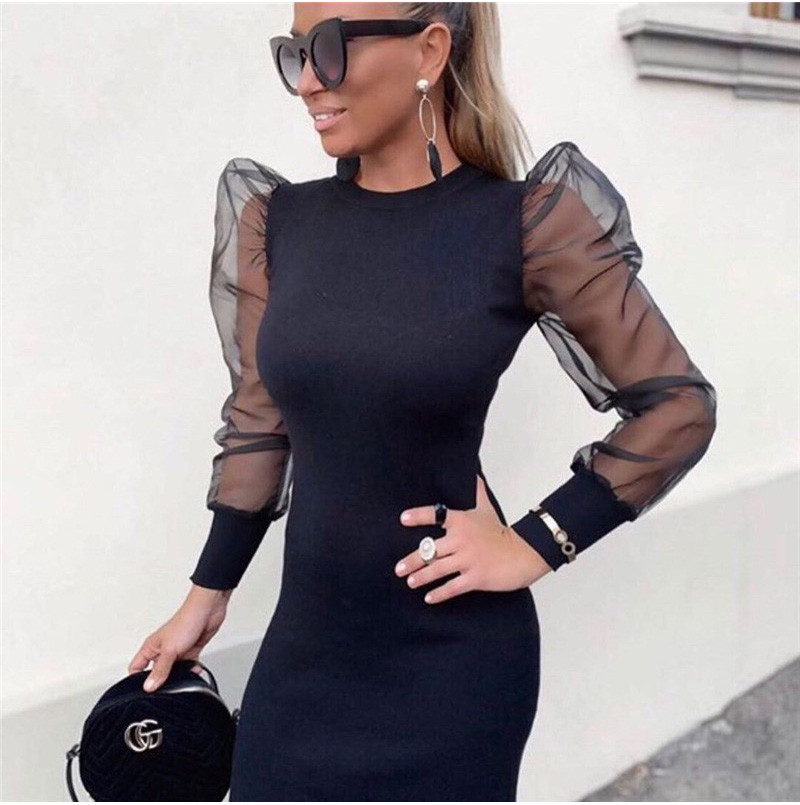 Fashion Women Bodycon Mini Dess Elegant Mesh Sheer Long Sleeve Slim Stretch Ladies Dresses Party Club Dames Vestidos Streetwear 1