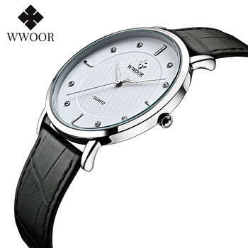 Fashion Simple Ultra Thin Mens Watches WWOOR Brand Design Waterproof Leather Watch For Men White Black Quartz Casual Wrist Watch super speed v6 v0180 racer quartz movement wrist watch for man black brown white