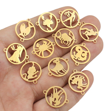 5pcs/lot Stainless Steel 12 constellations Charms Fit Bracelet Connector Charm Necklace for DIY Handmade Jewelry Making