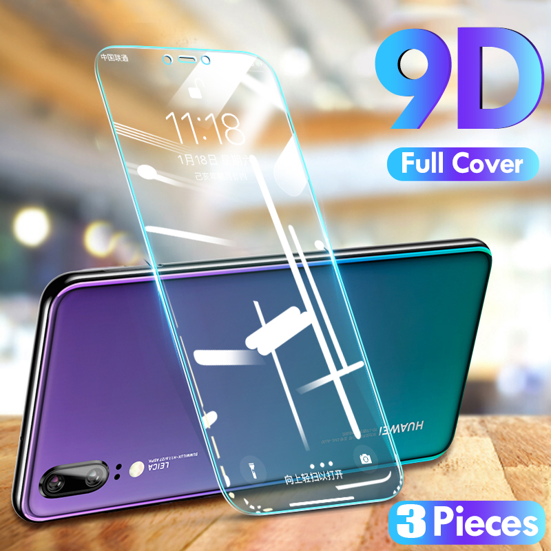 3-1Pcs Full Cover Tempered Glass For Huawei P40 P30 P20 Lite P20 Pro P Smart 2019 Screen Protective Glass For Huawei Mate20 Lite(China)
