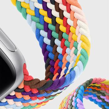 Pleciony pasek z nylonu do zegarka Apple Watch 6 Se 5 pasek 44mm 40mm 38mm 42mm Smartwatch elastyczny pasek bransoletka na iWatch seria 54321 tanie i dobre opinie MSSM CN (pochodzenie) 22cm Paski do zegarków Nowa z metkami For apple watch One elastic strap Black Green Pink Blue Charcoal Rainbow more