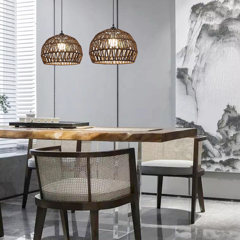 Rattan Lampara Loft Style Vintage LED Penant <font><b>Lights</b></font> Home Lighting FixturesIron <font><b>Pendant</b></font> Lamp Home Lighting Fixtures image