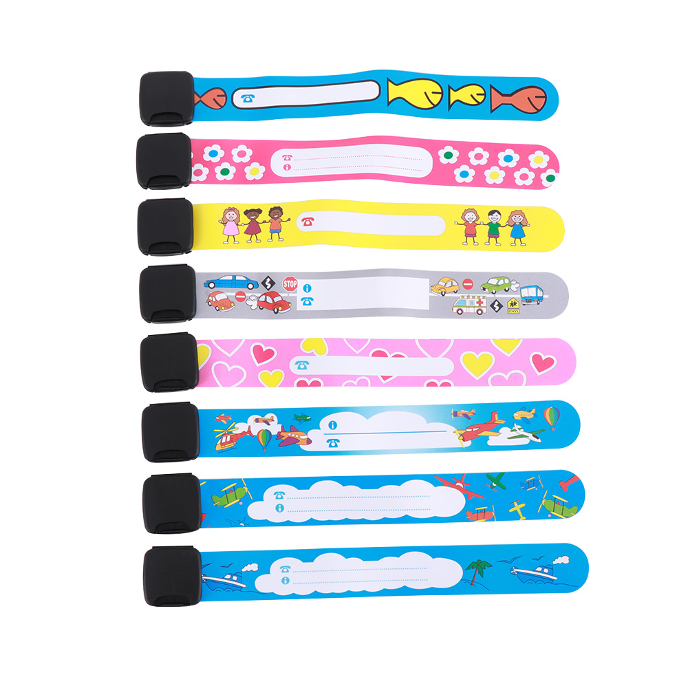8Pcs/Set Children Outdoor Safe Anti-lost Wristband Safety Recognition Bracelet For Kids Adjustable Waterproof Wrist Strap