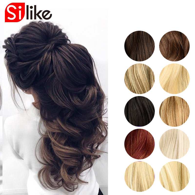 Silike Ponytail 20Inch Long Wavy Ponytail Elastic Drawstring Chignon Horse Tail Synthetic Hair Ponytails Extensions For Women