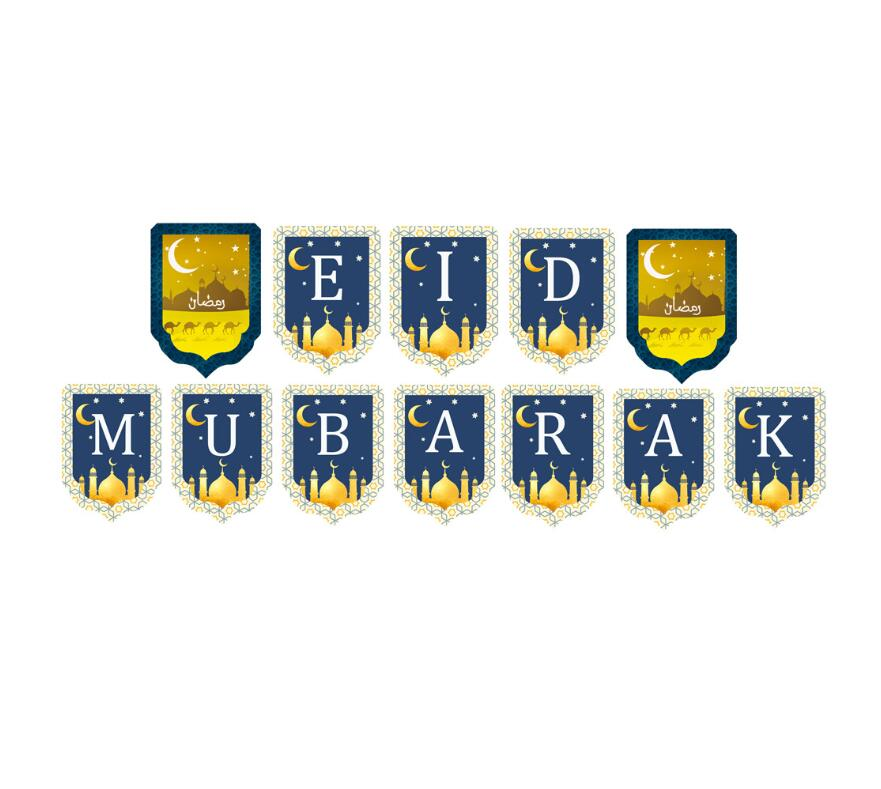 Twins Moon Star Eid Mubarak Banner Decoration Ramadan Party Decoration Bunting Banner Ramadan Supplies