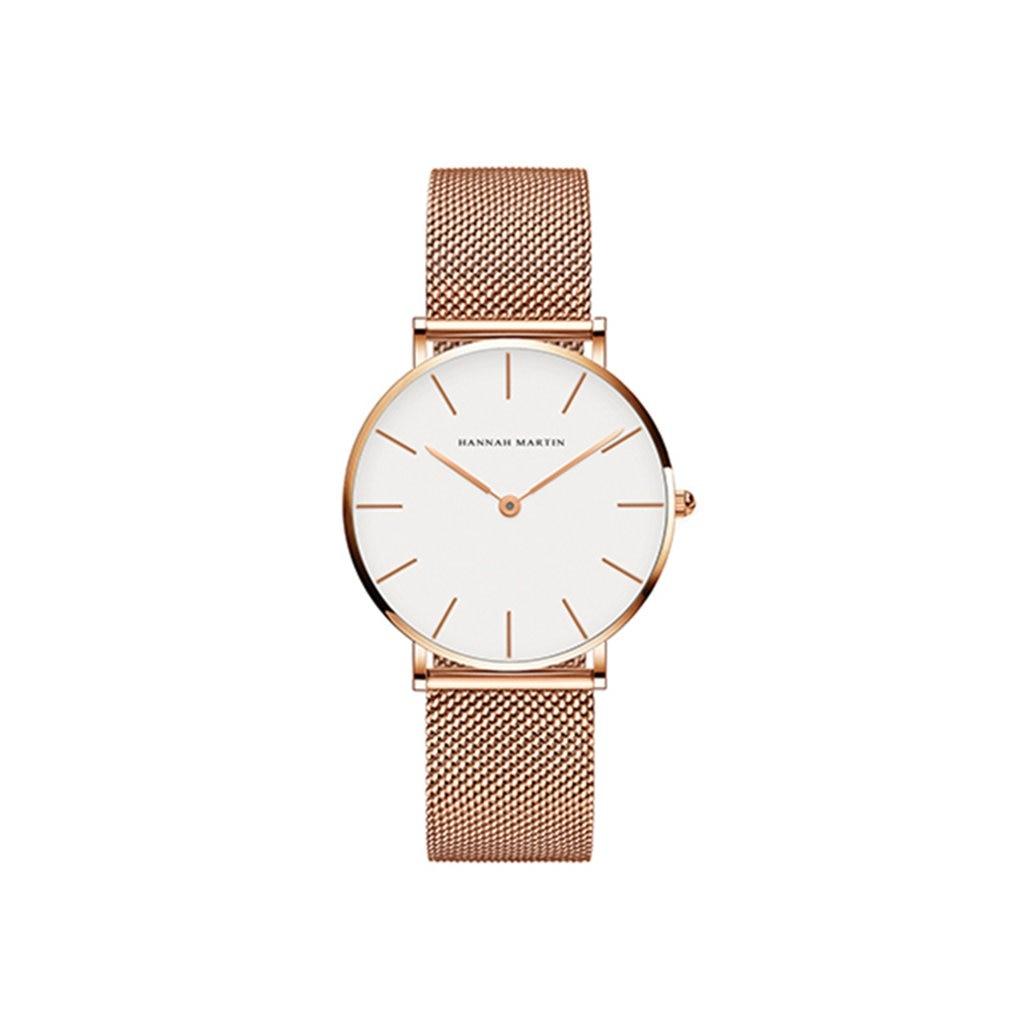 Trendy Fashion Women Watch Stainless Steel Mesh Strap Quartz Watch Round Dial Waterproof Simple Casual Wristwatch