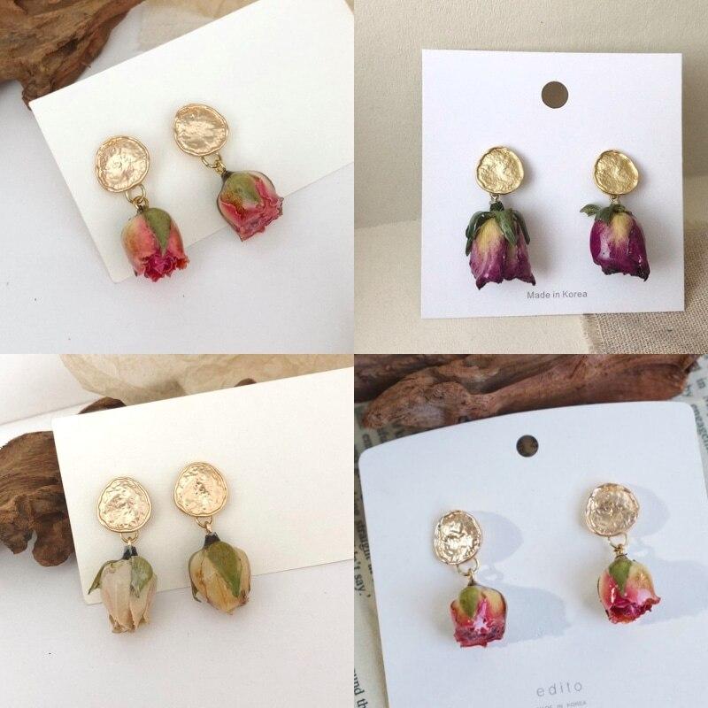 Baroque Statement Dried Flower Earrings S925 Natural RoseEarring For Women Hanging Dangle Earrings Drop Earing Modern Jewelry