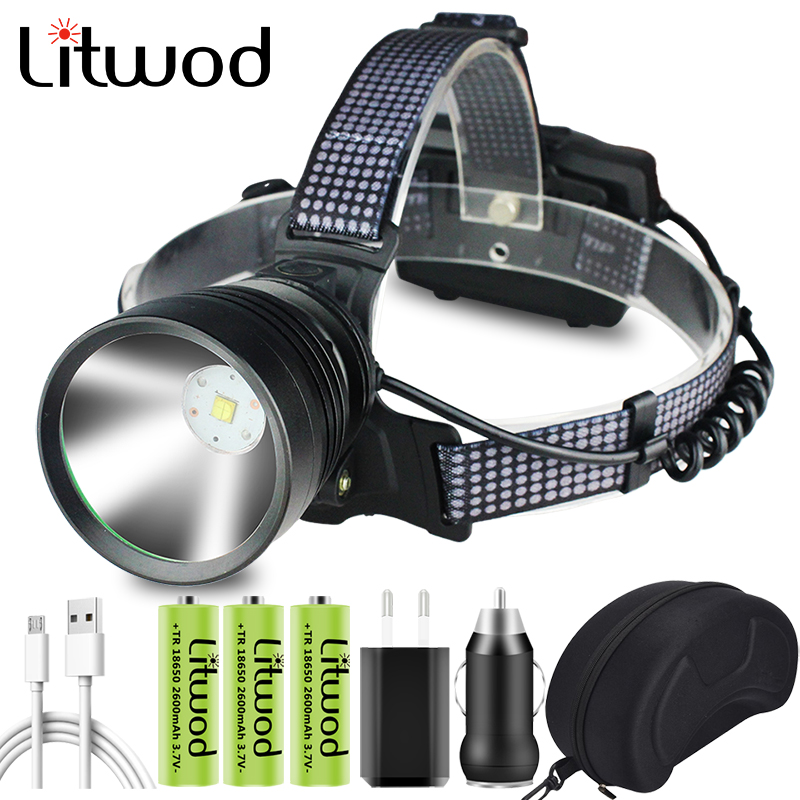 7 Core Xhp90 2 Led Headlamp Built-in Cooling Fun Zoom Headlight Power Bank Head Lamp Flashlight Torch 3  18650 Battery 30W CE