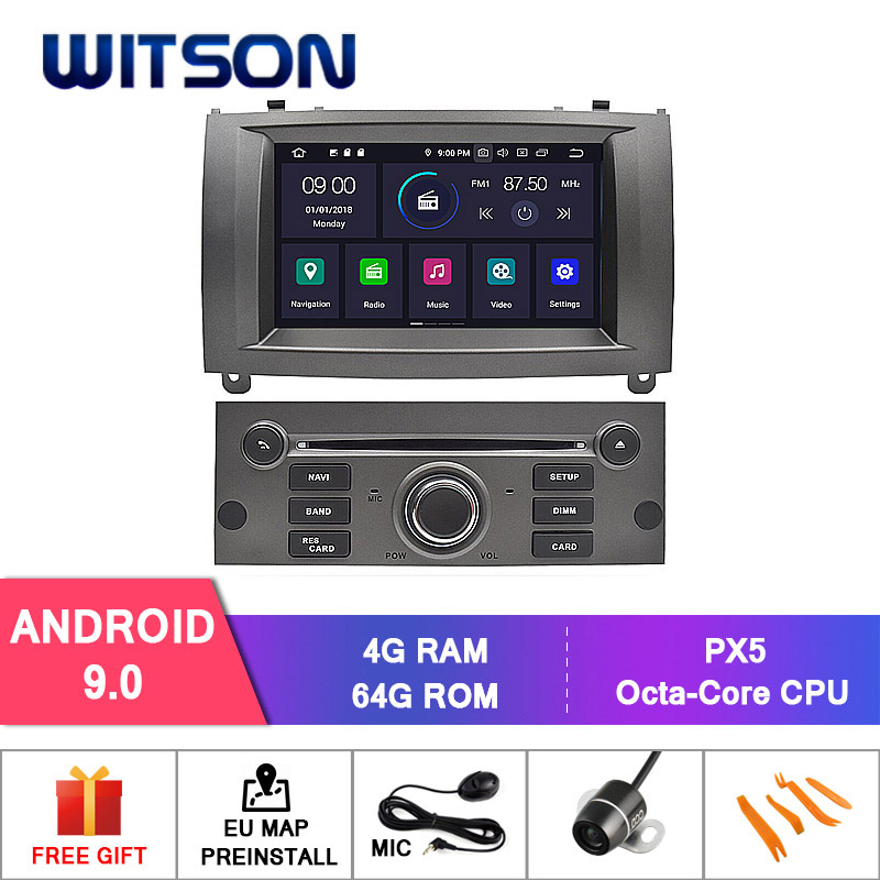 Germany Stock! WITSON for 4+64GB CAR DVD GPS FOR PEUGEOT 407 Android 9.0 IPS Screen RADIO 8 Octa Core+DVR/WIFI+DSP+DAB+OBD