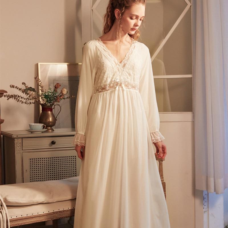 【Free Shipping】NEW ARRIVAL COTTON Nightgown Romantic Sleepwear European Style Nighty Dress Vintage Nightwear(S~XL) CP212S 1