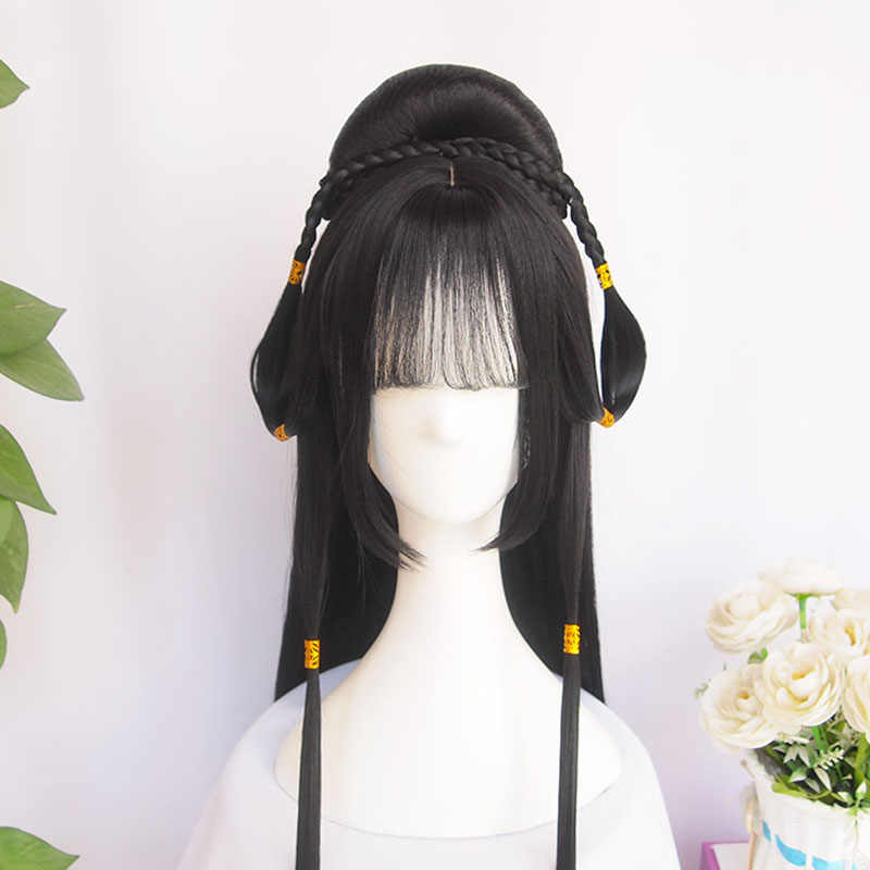 Vintage wig Ancient Chinese Wig Custom product Braids of hair Long straight black hair Air bangs Modelling wig Hair ornament