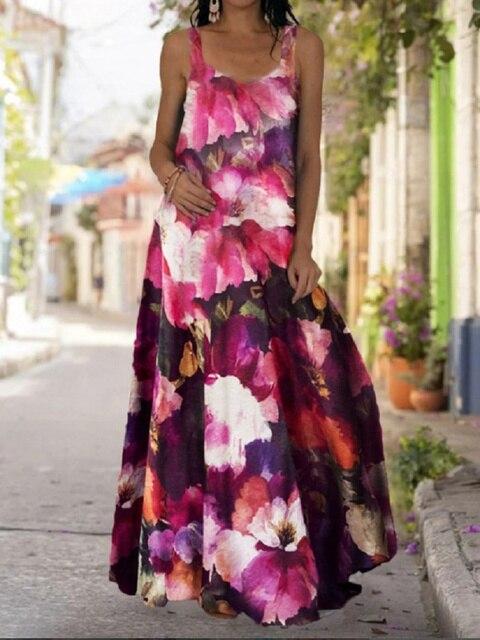 2021 Summer Women Long Maxi Dress Bohemian Suspender Strapless Mop Robe Tie Dye 3D Printed Sleeveless Vestido New Design Female 3