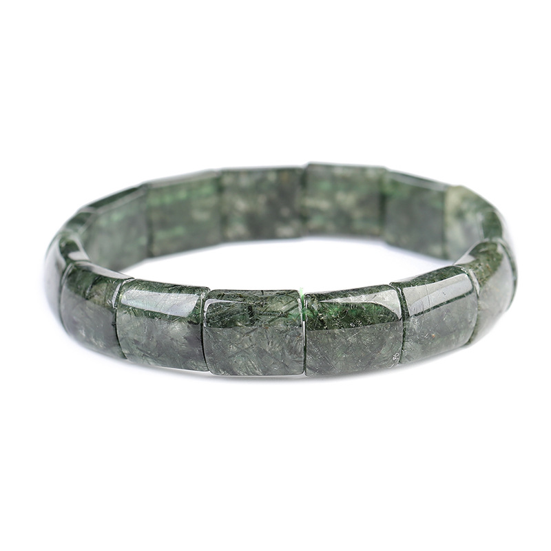 Wholesale Dark Green Hair Natural Crystal Hand Row Stone Bracelets Energy For Women Men Gift Present Simple Crystal Jewelry