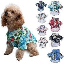 Havaiano Camisa do Filhote de cachorro do Cão de Estimação T Shirts Verão Praia Coqueiro Impressão Colete Praia Roupa Cão Vestuário Top Floral Abacaxi camisas