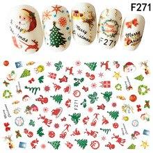 Крестообразная рамка для нового стиля Рождественская наклейка для ногтей Санта Клаус Наклейки для Ногтей подтяжки клей стерео 3D наклейка s