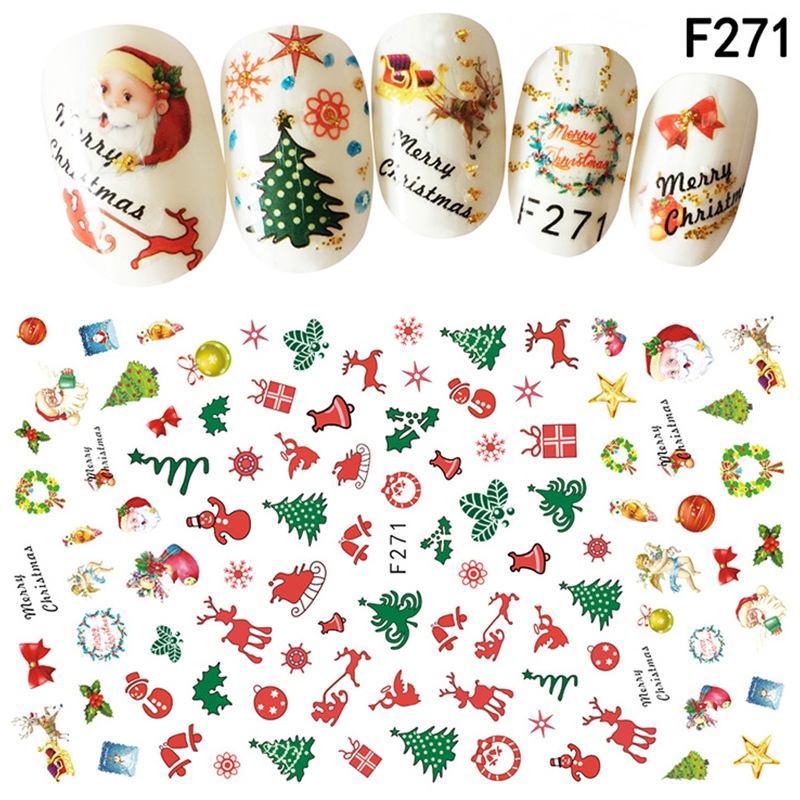 Cross Border For New Style Christmas Nail Sticker Santa Claus Nail Decals Suspender Strap Glue Stereo 3D Stickers