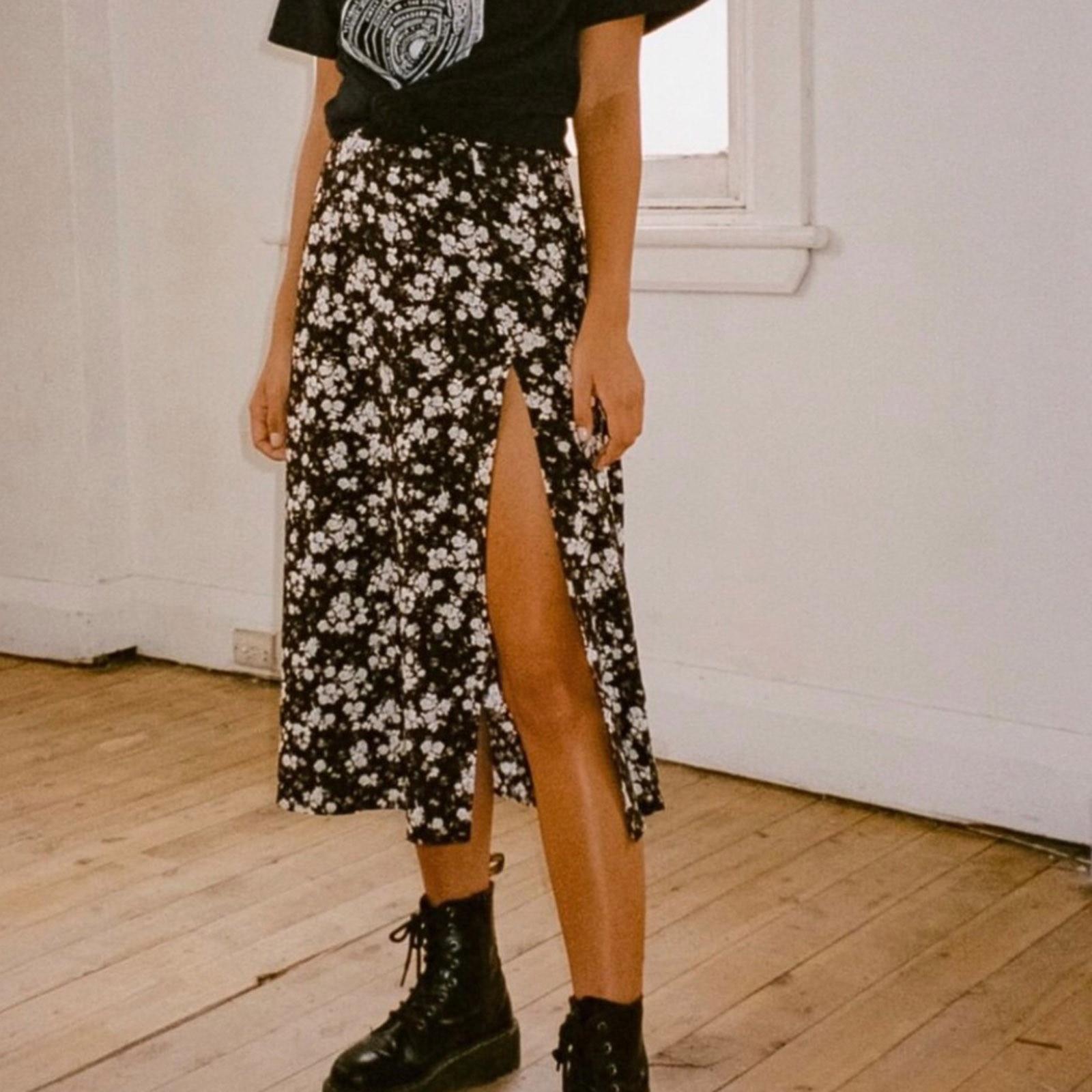 Leopard Skirts Flower Harajuku Elastic-Slit Print Korean-Style High-Waist Fashion Casual