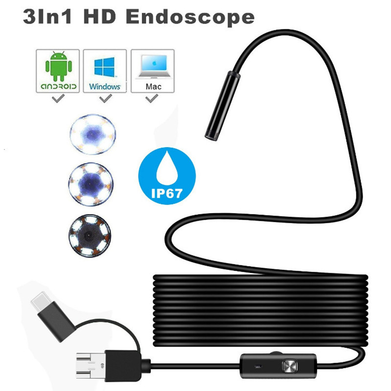 TYPE C USB 3In1 Endoscope Camera For Cars Flexible Hard Camera Endoscope Camera For Android Smartphone PC Endoscopio Endoskop