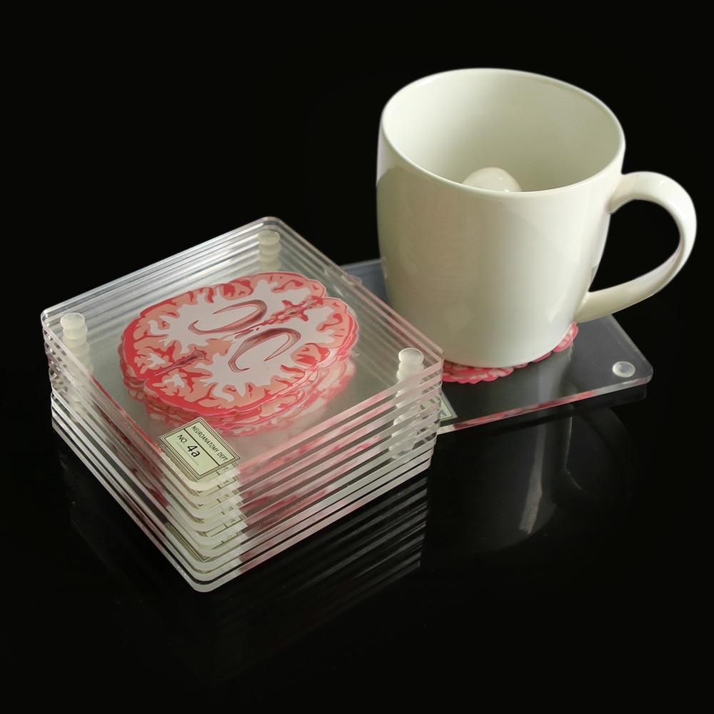 Brain Spécimen Coasters Set 3D organe carré verre acrylique Boissons Table Coaster