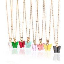2020 yeni Bohemian akrilik şeker renk kelebek kolye kolye bildirimi kolye kadınlar için kolye takı hediyeler toptan