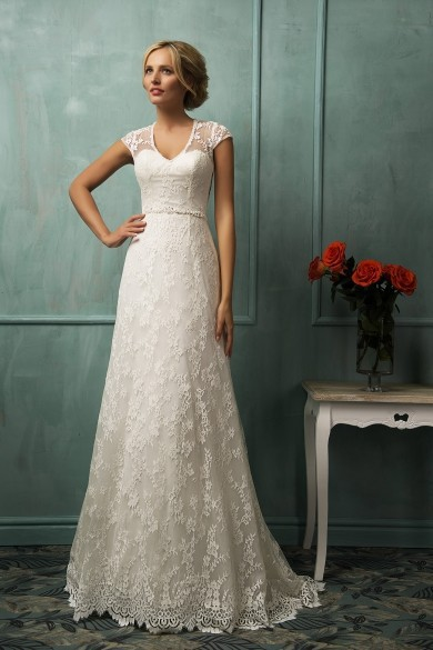 Amelia Sposa A Line V Neck Sleeveless Covered Buttons Cheap Bridal Dresses Vestido De Noiva 2016 Elegant Lace Wedding Dresses