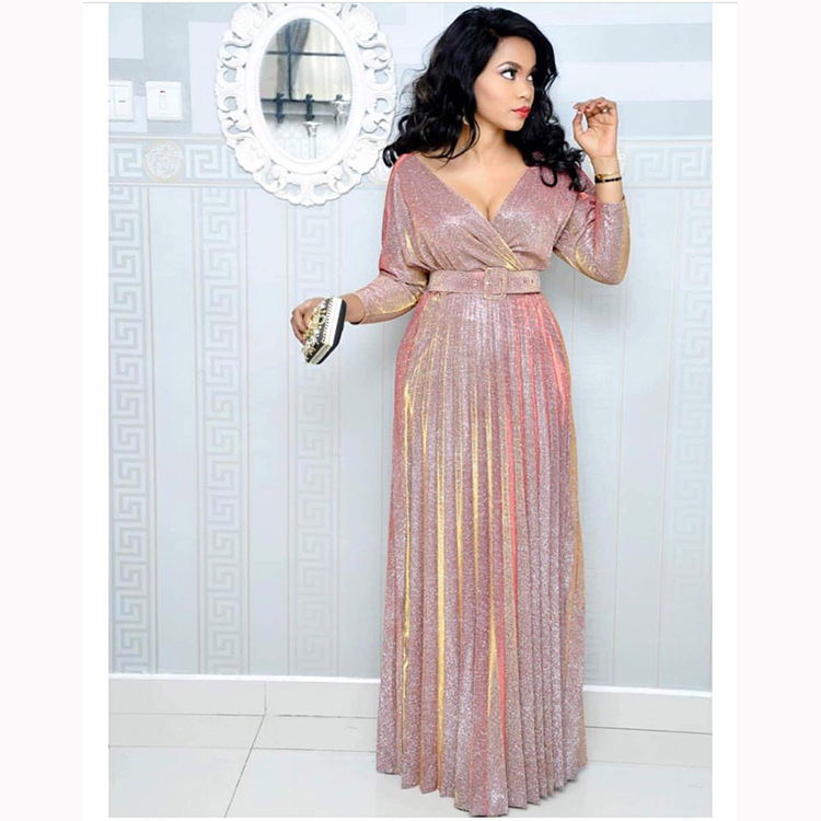 Pink Glitter Maxi Dress Ready To Wear Party Dress With Long Sleeves