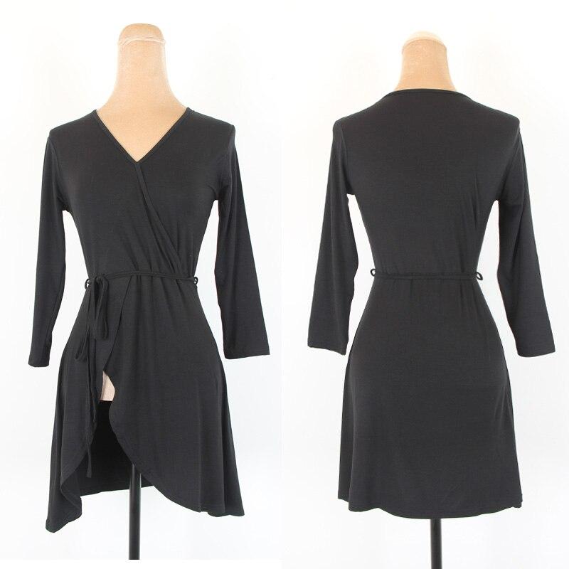 New Latin Dance Dress Black Split Top Adults Practice Clothes Tango Salsa Cha Cha Samba Rumba Women Performance Wear DNV12512